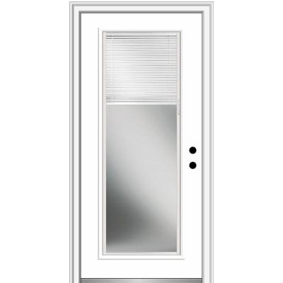 32 in. x 80 in. Internal Blinds Left-Hand Inswing Full Lite Clear Classic Primed Fiberglass Smooth Prehung Front Door