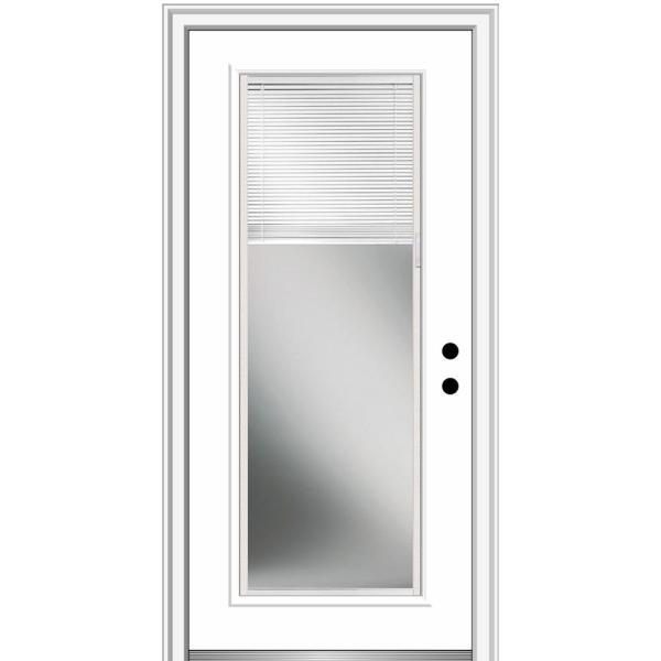 36 in. x 80 in. Internal Mini Blinds Left-Hand Inswing Full Lite Clear Low-E Primed Fiberglass Smooth Prehung Front Door