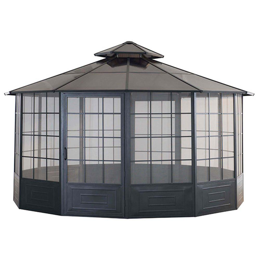 Home Depot Portable Screen Rooms : Sunjoy allison ft black steel screen