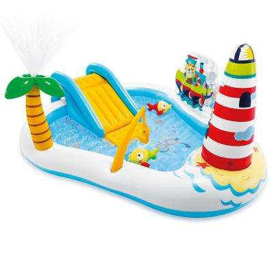 86 in. x 74 in. x 39 in. Rectangular 8 in. D Fishing Fun Play Center Kiddie Pool