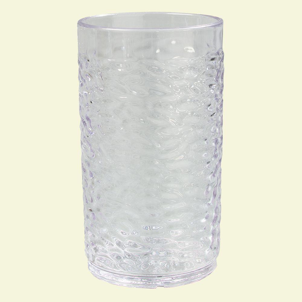 8 oz. SAN Plastic Pebble Optic Tumbler in Clear (Case of 24)