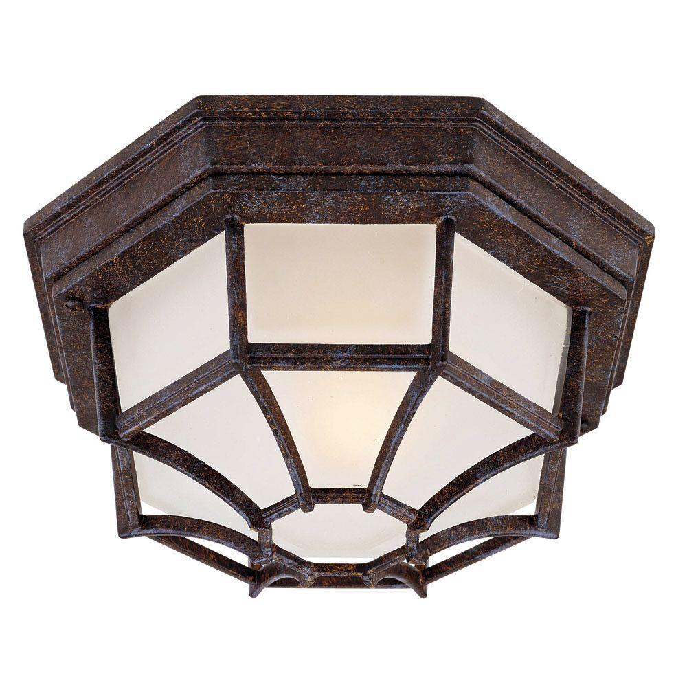 Illumine 1-Light Outdoor Rustic Bronze Flush Mount with Frosted Glass Shade