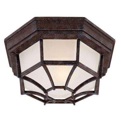 1-Light Outdoor Rustic Bronze Flush Mount with Frosted Glass Shade