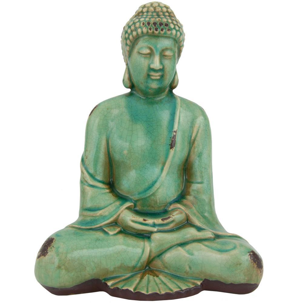 Mirrored Sitting Buddha Statue Zr800201 The Home Depot