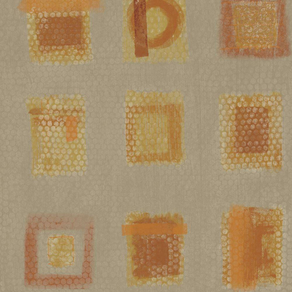The Wallpaper Company 8 in. x 10 in. Caramel and Metallic Gold Free Form Squares on a Geotextural Ground Wallpaper Sample