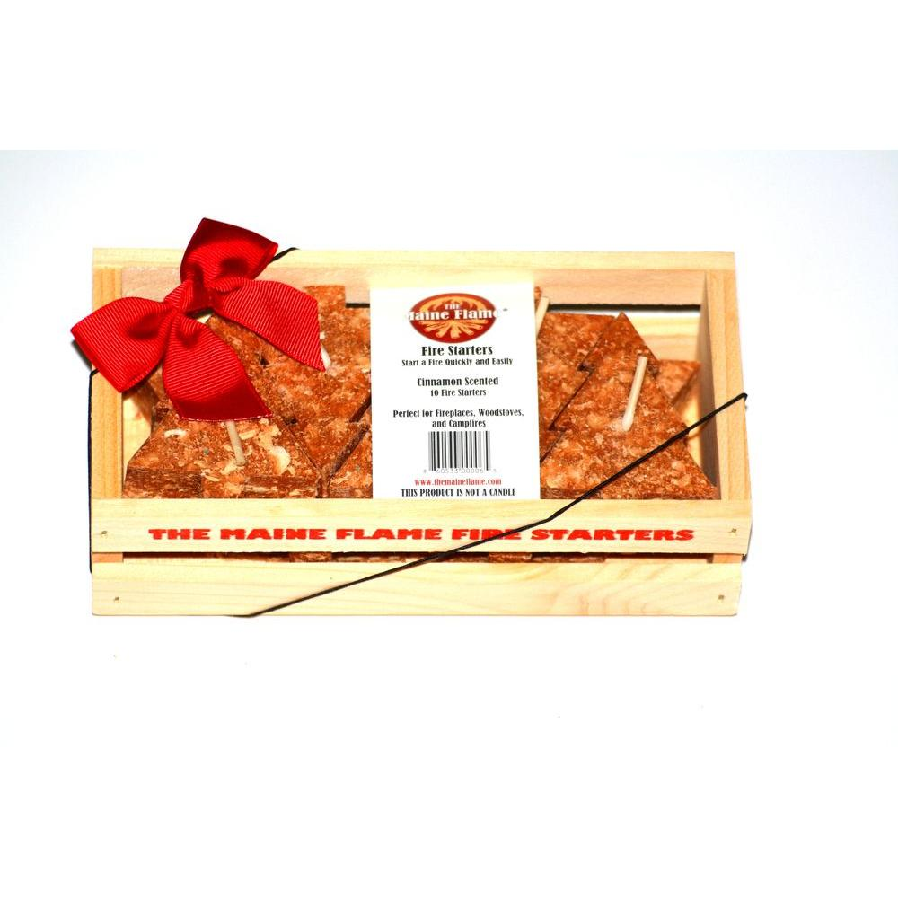 maine flame cinnamon scented fire starter gift crate 10 pack mf10 cinnamon the home depot. Black Bedroom Furniture Sets. Home Design Ideas