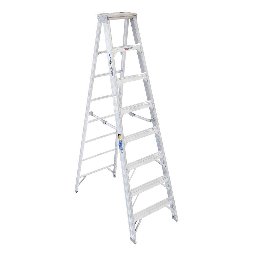 Werner 8 Ft Aluminum Step Ladder With 375 Lb Load Capacity Type Iaa Duty Rating 408 The Home Depot