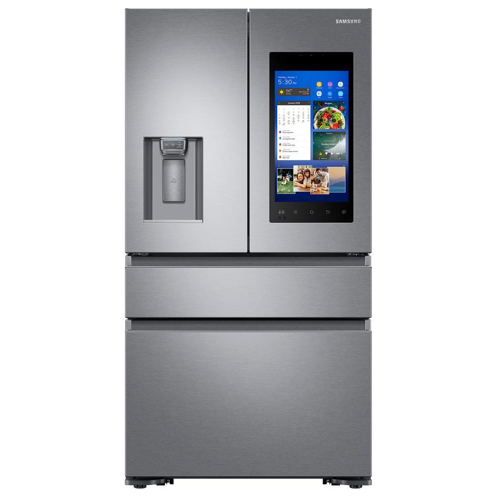Samsung 22.2 cu. Ft. Family Hub 4-Door French Door Recessed Handle Smart Refrigerator in Stainless Steel, Counter Depth