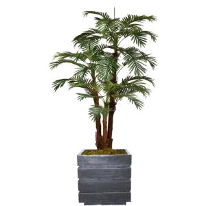 72 in. Tall Palm Tree Artificial Decorative Faux with Burlap Kit and Fiberstone Planter