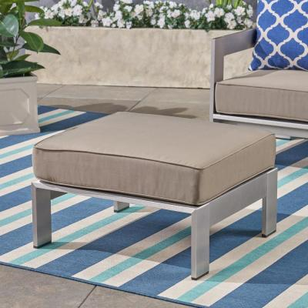 Cape Coral Silver Aluminum Outdoor Ottoman with Khaki Cushion