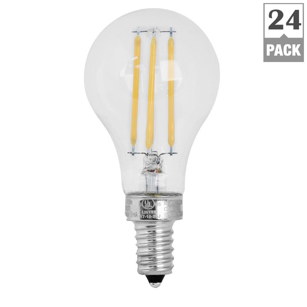 60W Equivalent Soft White A15 Dimmable Clear Filament LED Candelabra Base