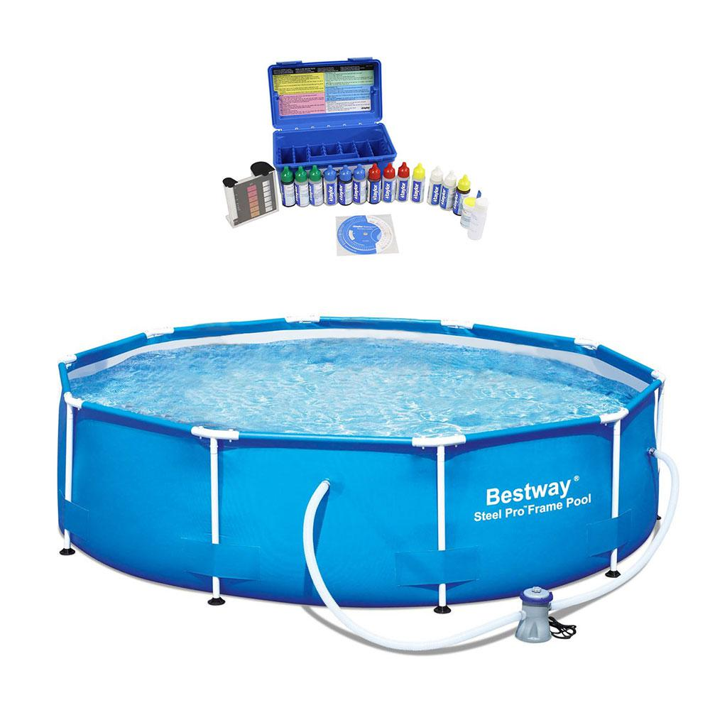 Bestway 10 ft. Round 30 in. D Steel Pro Hard Side Family Swimming Pool with Taylor Pool Water Test Kit, Blue -  56407EBWK2006