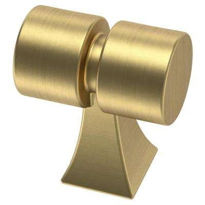 Warm Industrial 1-1/16 in. (27 mm) Brushed Brass Cylindar Cabinet Knob