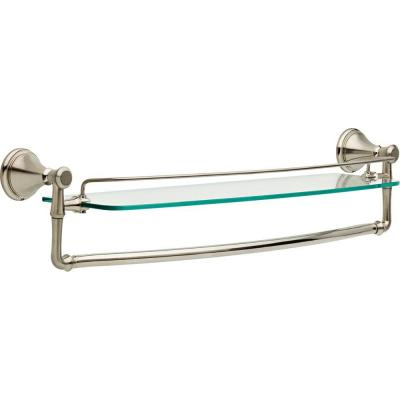 Cassidy 24 in. Glass Bathroom Shelf with Towel Bar in Stainless