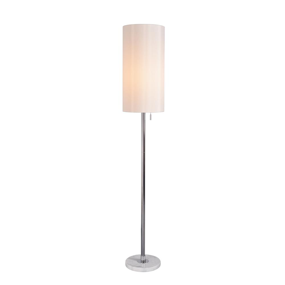 Kenroy Home Grant 59 In. Chrome Floor Lamp With White Shade