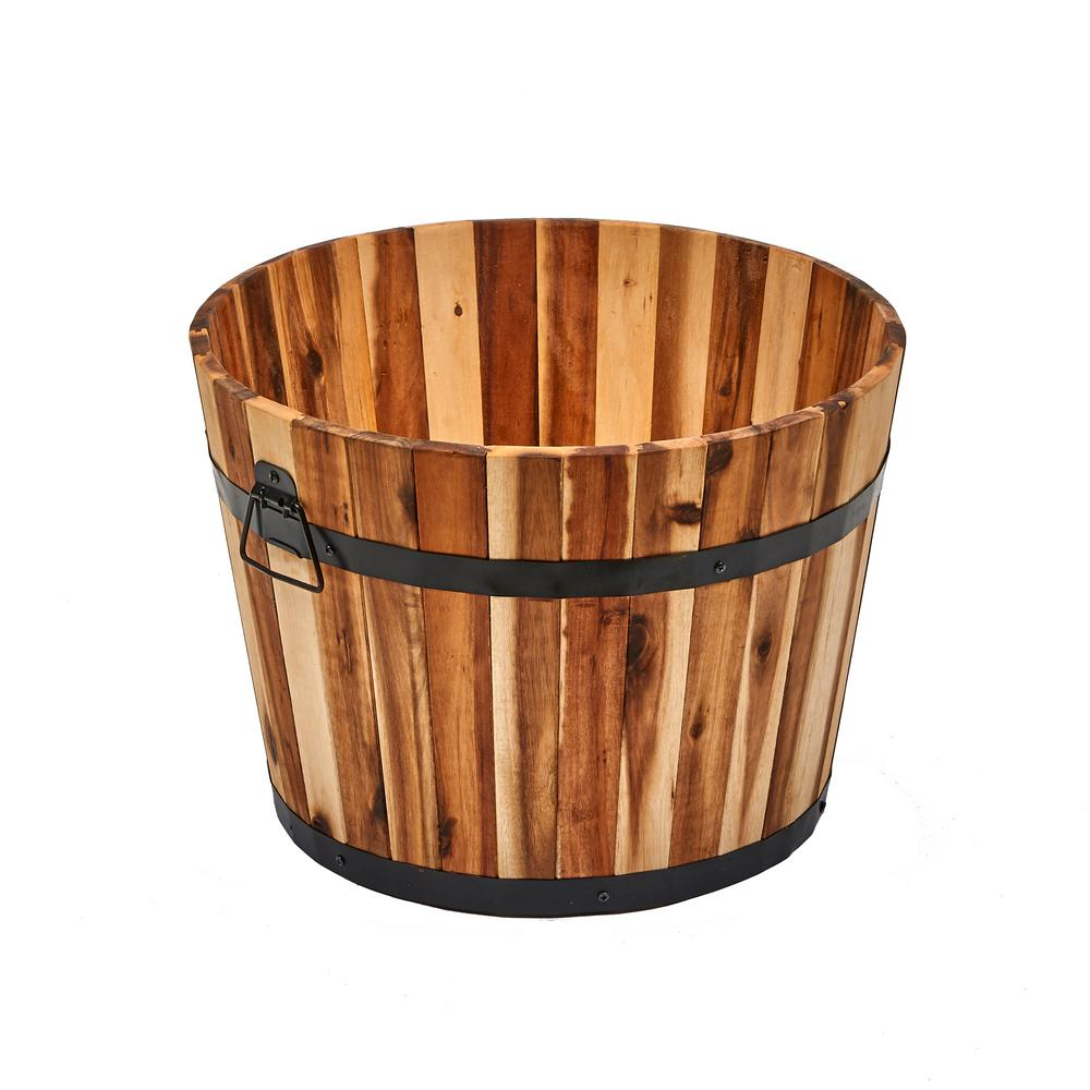 18 In Nested Wood Barrel Planter