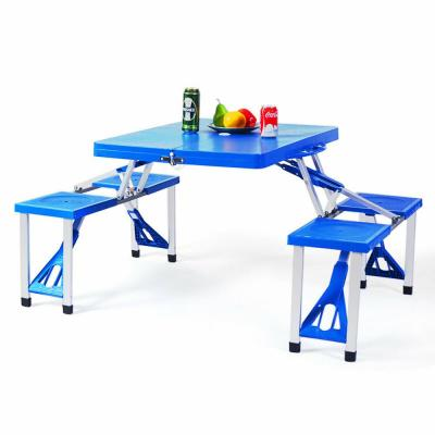 Rectangular Aluminum and Plastic Outdoor Folding Picnic Table with Bench