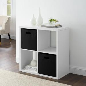 Dillon White 4-Cubby Storage Cabinet