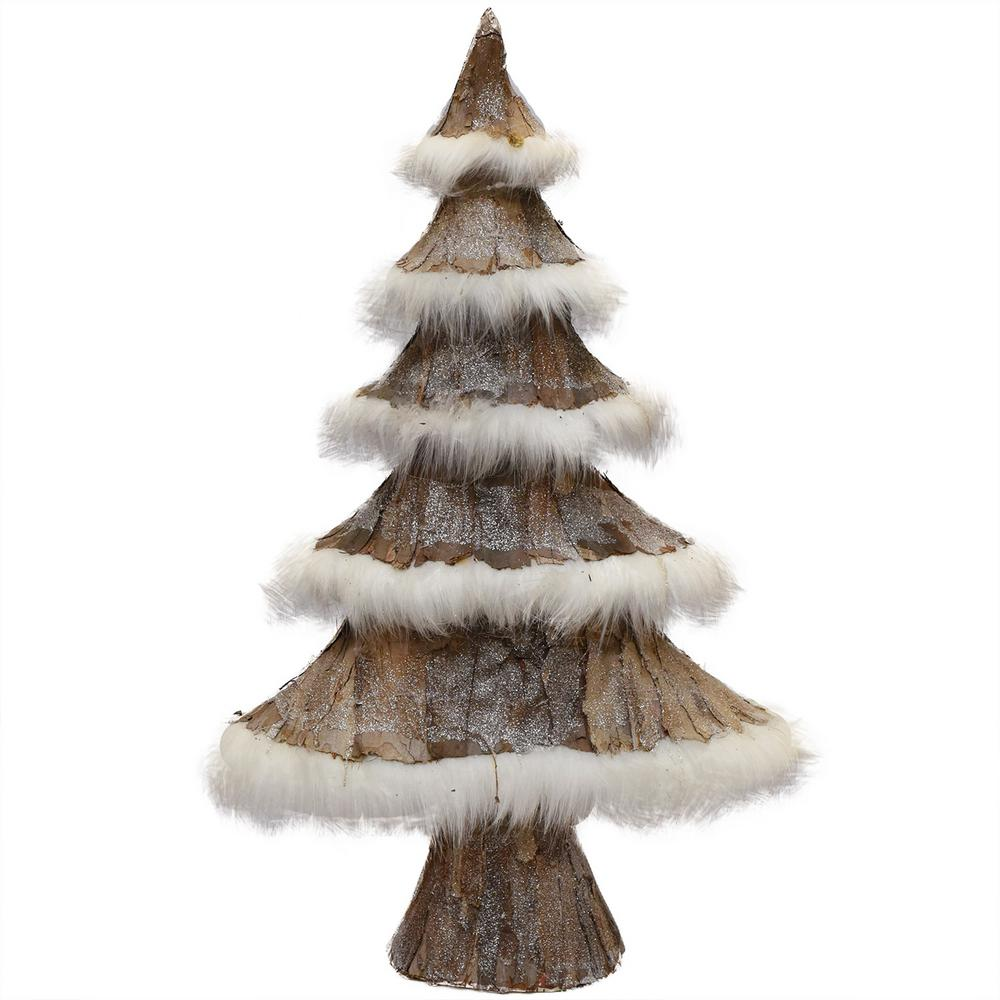 7cb01a7a857 Nature's Luxury Brown Bark and White Faux-Fur Decorative Christmas Tree