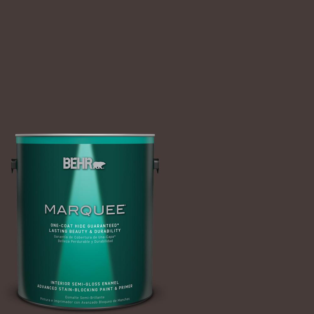 1 gal. #T18-04 Nocturne Shade Semi-Gloss Enamel Interior Paint