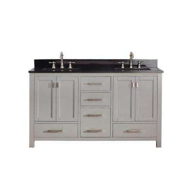 Modero 61 in. W x 22 in. D x 35 in. H Vanity in Chilled Gray with Granite Vanity Top in Black and White Basins