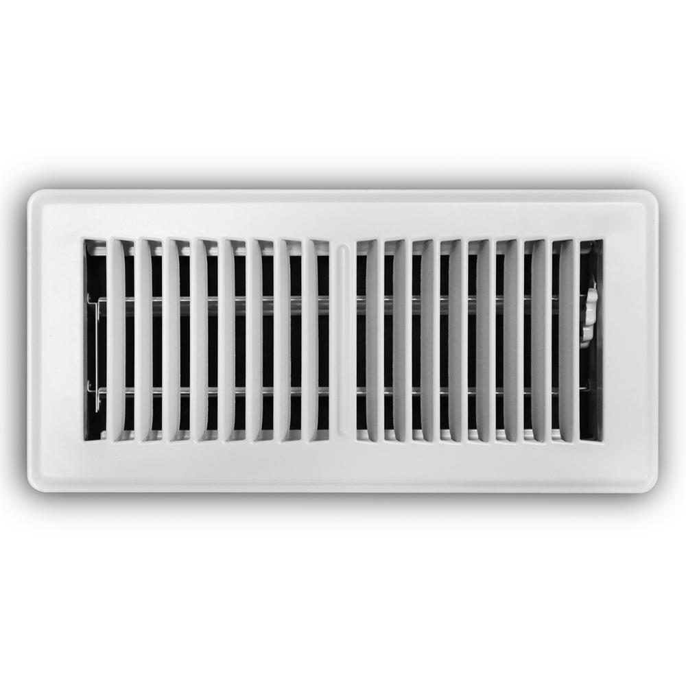 4 in. x 10 in. 2-Way Steel Floor Register in White