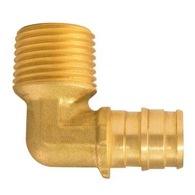 1/2 in. x 1/2 in. MNPT PEX-A Barb Brass 90-Degree Male Elbow Fitting