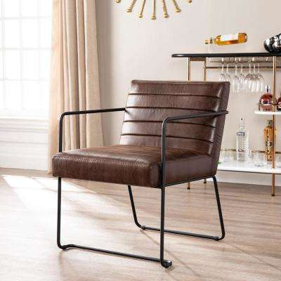 Lester Brown Faux Leather Accent Chair