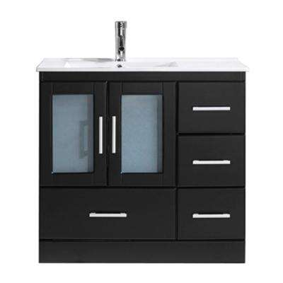 Zola 36 in. W Bath Vanity in Espresso with Ceramic Vanity Top in Slim White Ceramic with Square Basin and Faucet