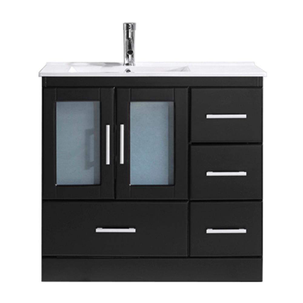 Virtu USA Zola 36 in. W x 18 in. D Vanity in Espresso with Ceramic ...