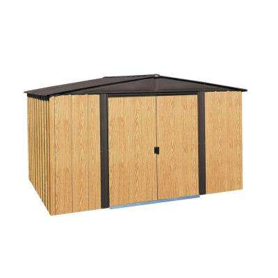 Woodlake 10 ft. W x 8 ft. D 2-Tone Wood-grain Galvanized Metal Storage Building
