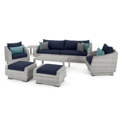 Cannes Deluxe 8-Piece Sofa and Club Chair Wicker Patio Conversation Set with Blue Cushions