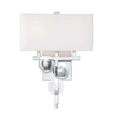 Rogue Decor Engeared 2-Light Chrome Wall Sconce with White Fabric Shade