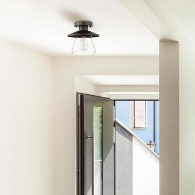 Nate 1-Light Oil Rubbed Bronze Semi-Flush Mount Ceiling Light with Clear Glass Shade