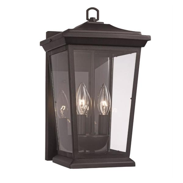 3-Light Black Outdoor Wall Lantern Sconce with Clear Glass