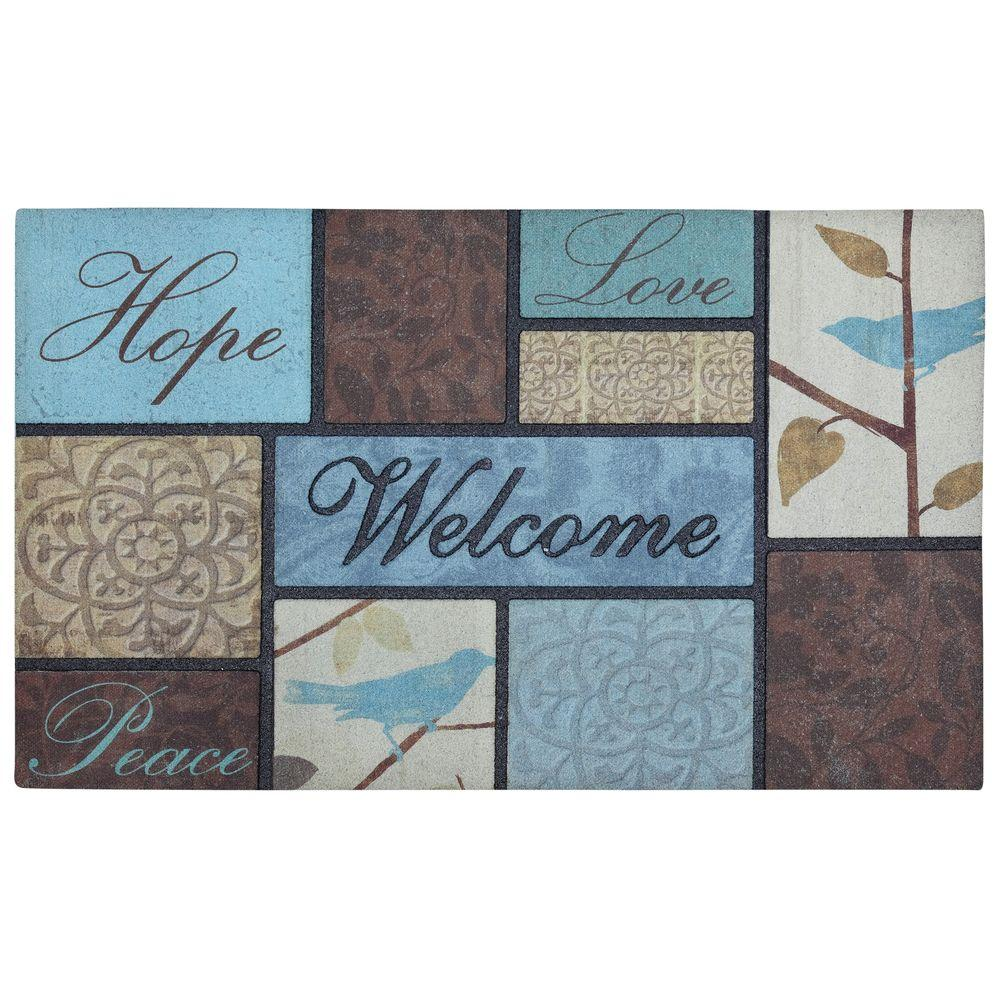 Mohawk Home 18 in. x 30 in. Hopeful Birds Recycled Rubber Door Mat-DISCONTINUED