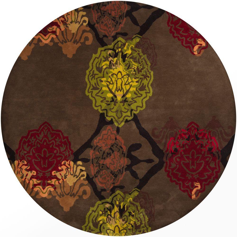 Chandra Dharma Dark Brown/Orange/Red/Green/Yellow 7 ft. 9 in. Indoor Round Area Rug
