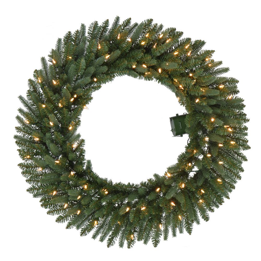 Prelit Christmas Wreath.Home Accents Holiday 36 In Battery Operated Pre Lit Led Artificial Meadow Fir Christmas Wreath W 341 Tips And 80 Warm White Lights W Timer