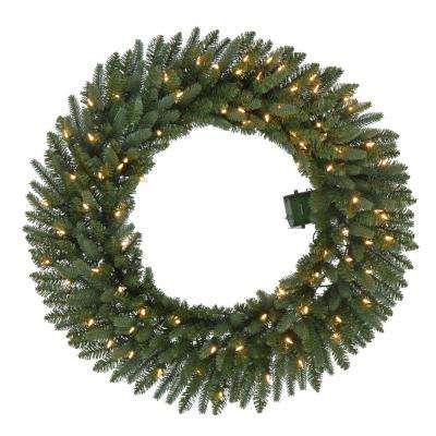 36 in. Battery-Operated Pre-Lit LED Artificial Meadow Fir Christmas Wreath w/ 341 Tips and 80 Warm White Lights w/ Timer