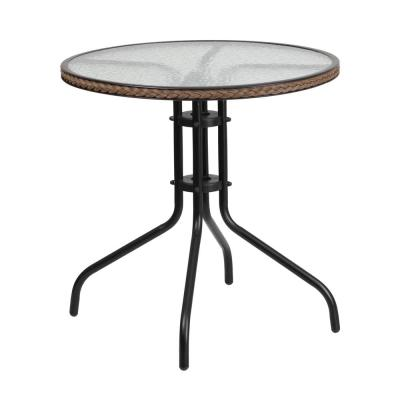 Clear Top/Dark Brown Rattan Round Metal Outdoor Bistro Table