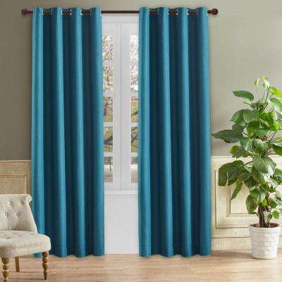 Odyssey 126 in. L x 52 in. W Blackout Polyester Curtain in Saxony Blue