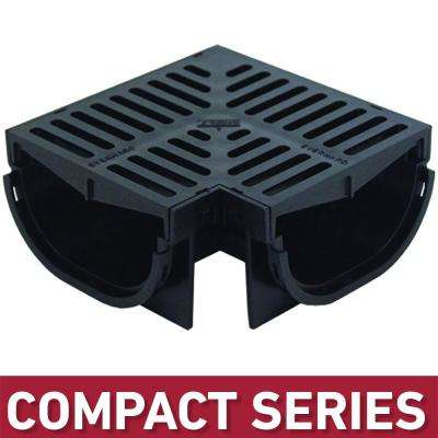 Compact Series 90° Corner for 3.2 in. D  Trench and Channel Drain Systems w/ Black Grate