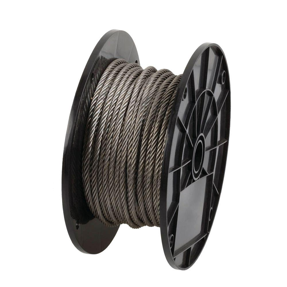 Everbilt 3/16 in. x 125 ft. Stainless Steel Wire Rope-13950 - The ...