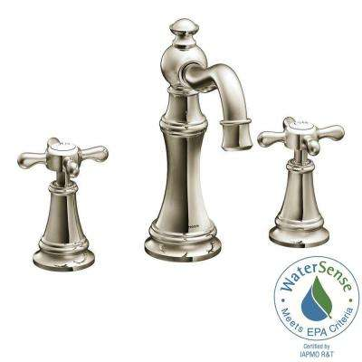 Weymouth 8 in. Widespread 2-Handle High-Arc Bathroom Faucet Trim Kit in Nickel (Valve Not Included)