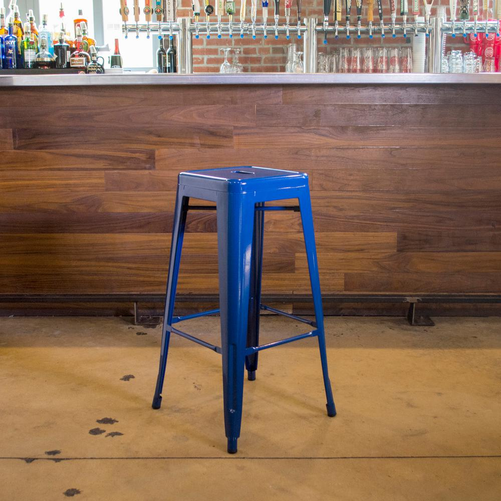 Stackable Metal Bar Stool In Blue