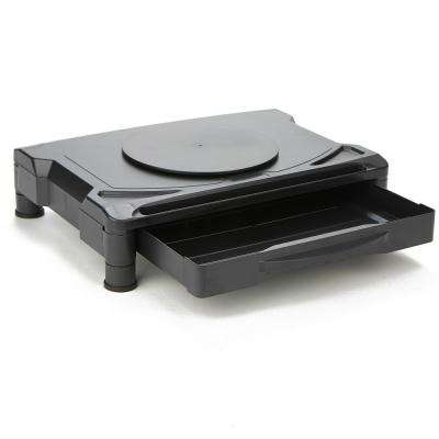 Rotative Extra Wide Adjustable Monitor Risers with, Monitor Stand, Black 1-Drawer
