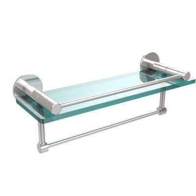 Fresno 16 in. L  x 5 in. H  x 5 in. W Clear Glass Bathroom Shelf with Vanity Rail and Towel Bar in Polished Chrome