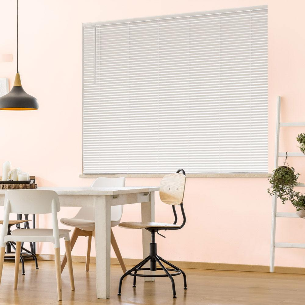 "Designer/'s Touch Cordless 40/"" W x 72/"" L White Aluminum Blinds 1/"" Slats"