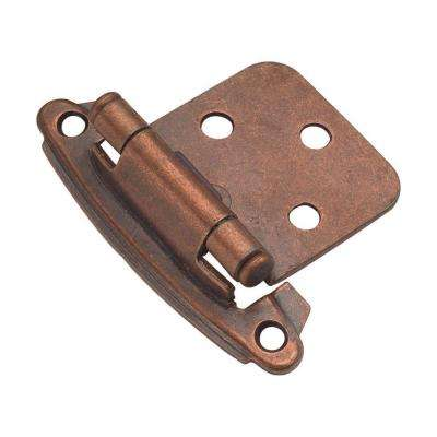 1-14/15 in. x 2-5/8 in. Antique Copper Surface Self-Closing Hinge (2-Pack)