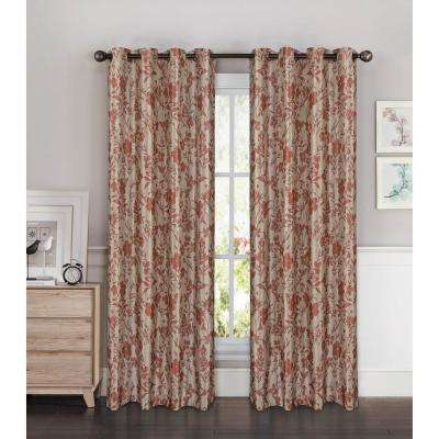 Florabotanica Printed Faux Silk Grommet Extra Wide Curtain Panel 54 In W